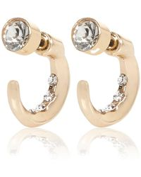 River Island Gold Tone Hoop Front And Back Earrings gold - Lyst