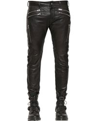 Diesel 17.5Cm Multi Zip Leather Pants black - Lyst