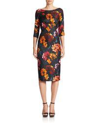 Marc Jacobs Floral-Print Silk Twill Sheath Dress black - Lyst