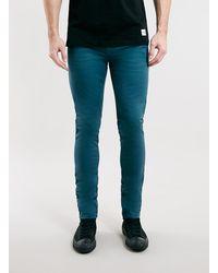 Topman Aqua Blue Stretch Skinny Fit Chino - Lyst