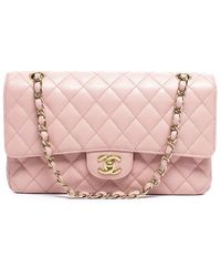 Chanel Pre-Owned Pink Caviar Medium Double Flap Bag - Lyst