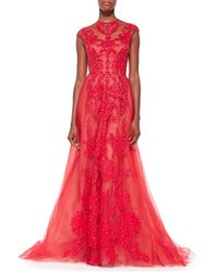 Monique Lhuillier Bead-Embroidered Illusion Tulle Gown - Lyst