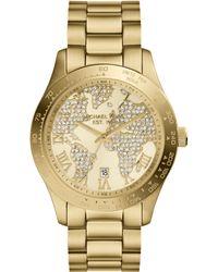 Michael Kors Womens Layton Goldtone Stainless Steel Bracelet Watch 44mm - Lyst