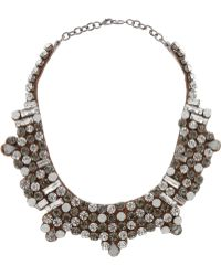 Valentino Dark Glamorous Silver-Tone Crystal Necklace - Lyst