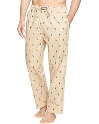 Ralph Lauren Polo Pony Print Woven Pajama Pants - Natural