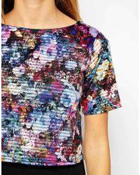 Girls On Film Crop Top In Floral Burnout Stripe - Multicolour
