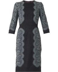 Dolce & Gabbana Lace-Trim Flannel Dress - Lyst