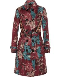 Burberry Prorsum | Embroidered Floral-print Cotton-blend Trench Coat | Lyst