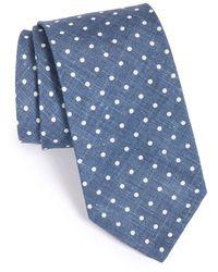 Maker & Company Dot Cotton & Silk Tie - Blue