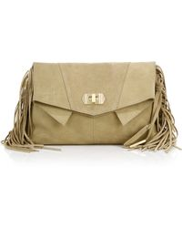 Linea Pelle - Stevie Fringed Suede Clutch - Lyst