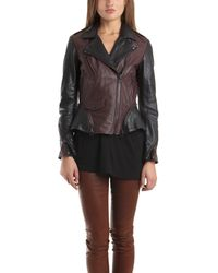 3.1 Phillip Lim 2 Tone Moto Cross Jacket In Chocolate red - Lyst