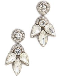 Deepa Gurnani Crystal Petal Earrings Ivory - Lyst
