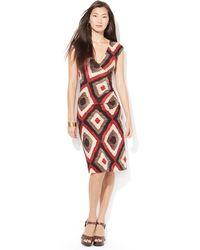 Lauren by Ralph Lauren Jersey Surplice Dress - Lyst
