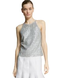 Halston Heritage Sequined Keyhole Top - Lyst