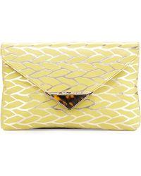 Elaine Turner - Bella Leaf Envelope Clutch Bag Citrinegold - Lyst