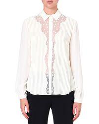 Temperley London Deneuve Sheerdetail Shirt Ivory - Lyst