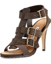 Manolo Blahnik Pidigi Leather Triplebuckle Sandal - Lyst