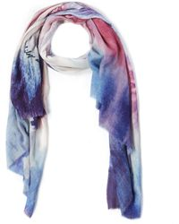 Lily and Lionel Purple London Eye Sunset Silk-blend Scarf