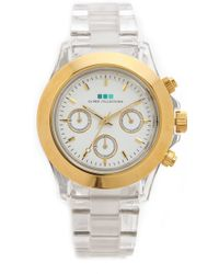 La Mer Collections - Carpe Diem Watch with Lucite Link Bracelet Cleargold - Lyst