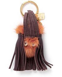 Sophie Hulme 'Bianca' Mink Fur Pompom Monster Keyring red - Lyst