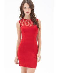 Forever 21 Scuba Knit Lace Dress - Lyst