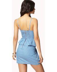 Forever 21 Polka Dot Peplum Dress - Blue
