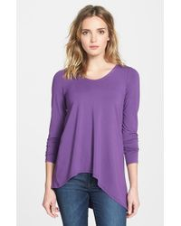 Eileen Fisher V-Neck Stretch Knit Top - Lyst