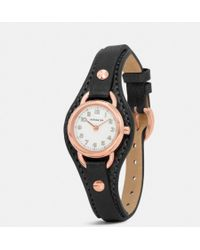 Coach Dree Rose Gold Plated Leather Buckle Cuff Watch - Lyst