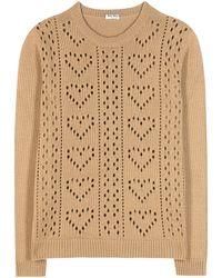 Miu Miu | Perforated Cashmere Sweater | Lyst