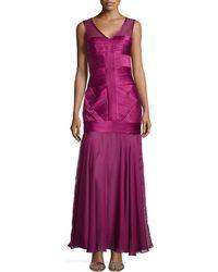 Halston Heritage Sleeveless V-Neck Illusion Gown - Lyst