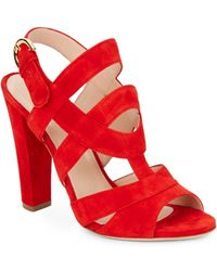Sergio Rossi Suede Slingback Sandals red - Lyst