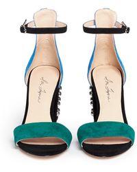 Isa Tapia 'Astor' Stud Colourblock Suede Sandals - Lyst