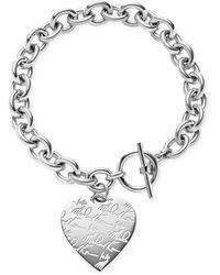 Michael Kors Logo Heart Charm Toggle Bracelet - Lyst