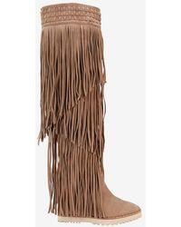e04776a6b396 Ivy Kirzhner - Tiered Fringe Knee High Wedge Boot - Lyst
