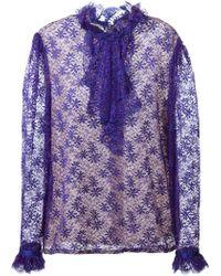 Guy Laroche Ruffled Lace Shirt - Blue
