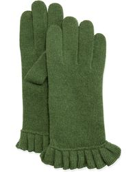 Portolano Cashmere-Blend Ruffle Tech Gloves green - Lyst