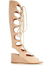 Chloé Gladiator Lace-Up Suede Wedge Sandals - Natural