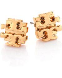 Tory Burch T Logo Small Stud Earrings/Goldtone - Lyst