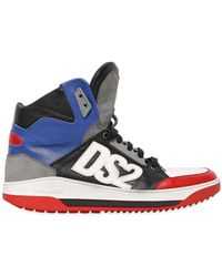 DSquared² Logo Appliqué Leather High Top Sneakers - Lyst