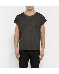 Saint Laurent Faded Cotton-Jersey T-Shirt - Lyst