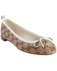 Gucci Tan and White Gg Canvas Ali Bow Detail Ballet Flats - Lyst
