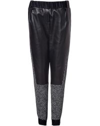 Prabal Gurung Leather And Tweed Track Pants - Lyst