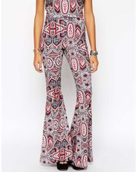 Asos Flare Trousers In Boho Festival Print Co-Ord - Lyst