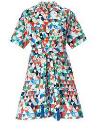 Saloni Ashley Geometric Shirt Dress - Lyst