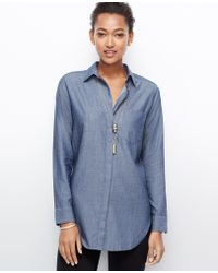 Ann Taylor Chambray Oversized Shirt - Lyst