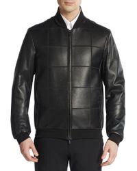 Armani Leather Grid Bomber Jacket - Lyst