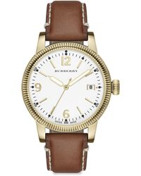 Burberry Utilitarian Goldtone Stainless Steel & House Check Strap Watch - Lyst