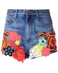 Christopher Kane Floral Appliqué Denim Shorts - Blue