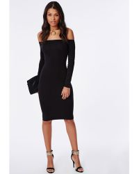 Missguided Long Sleeve Jersey Bardot Bodycon Midi Dress Black - Lyst