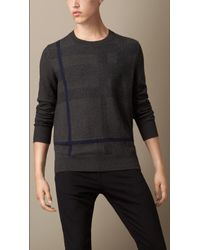 Burberry Check Cotton Cashmere Sweater - Lyst
